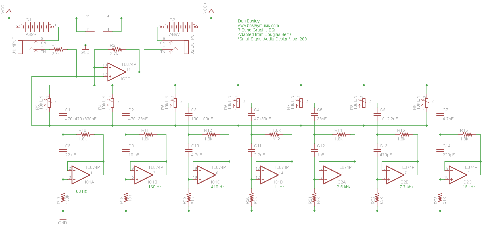 Graphic EQ: Schematic Parts Layout PC Board